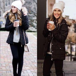 Faux fur black parka hooded jacket